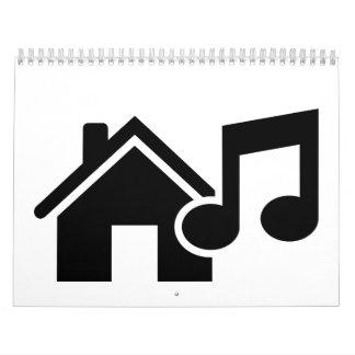 Nota de la música de la casa calendario de pared