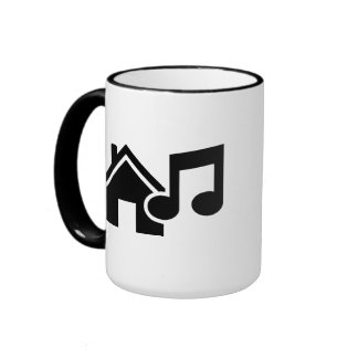 Nota de la música de la casa taza a dos colores
