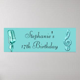 Nota de la música de la chispa y cumpleaños retro poster