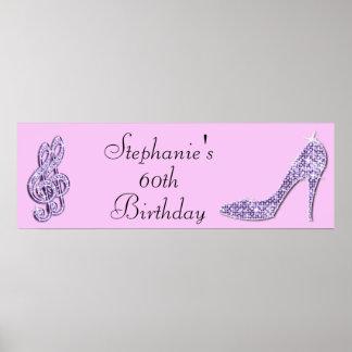 Nota de la música de la lila y cumpleaños del poster