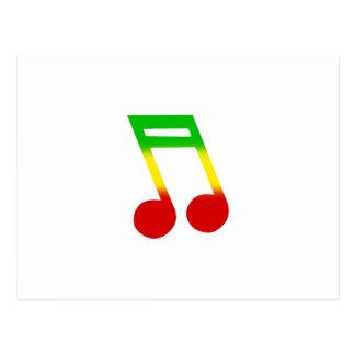 Nota de la música de Rasta Tarjeta Postal