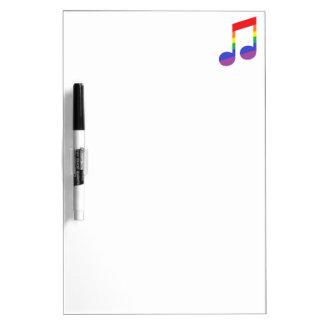 Nota de la música del arco iris tablero blanco