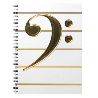 Nota de la música del Clef bajo del oro Libro De Apuntes Con Espiral