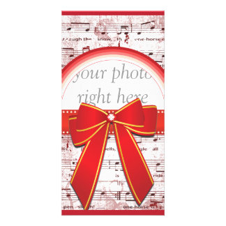 Nota de la música del navidad con la tarjeta roja tarjeta con foto personalizada