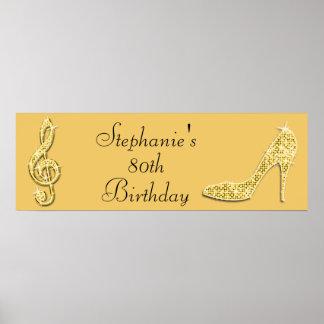Nota de la música del oro y cumpleaños del posters