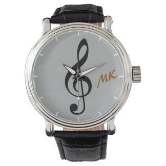 nota de la música del tiempo del clef agudo relojes de mano