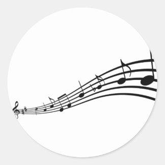 nota de la música pegatina redonda