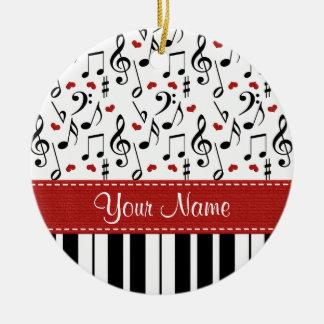 Nota de la música y ornamento del piano adorno navideño redondo de cerámica