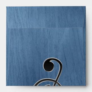 Nota de madera azul abstracta del clef de la sobres