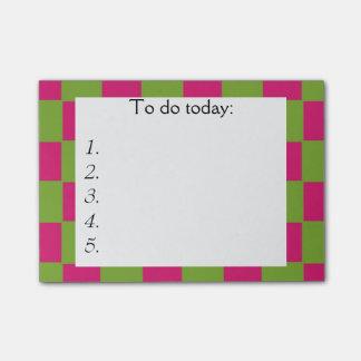Nota de post-it a cuadros rosada y verde brillante post-it® notas