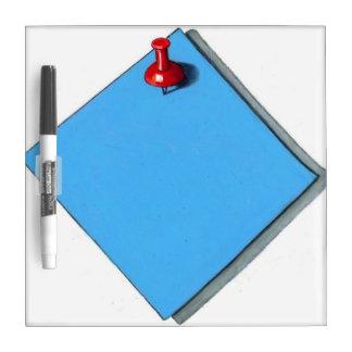 Nota de post-it azul: Chincheta roja: Engañe el Tablero Blanco
