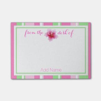 Nota de post-it hermosa del hibisco notas post-it