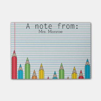 Nota de post-it personalizada lápiz coloreada del post-it nota