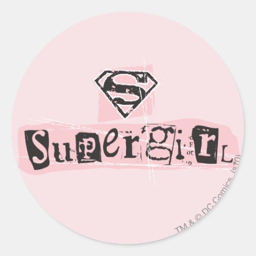 Nota de rescate del logotipo de Supergirl Pegatina Redonda