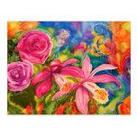 Nota de seda colorida brillante del jardín de flor tarjeta postal