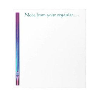Nota de su libreta del organista bloc de papel