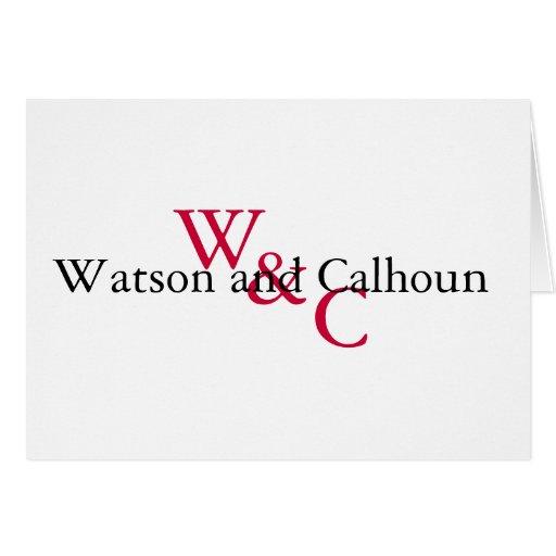 Nota de Watson y de Calhoun Tarjeta