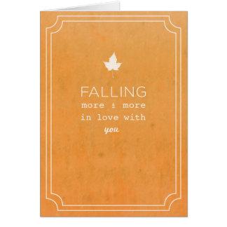 Nota del amor de la caída felicitacion