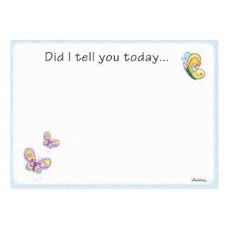 Nota del amor de la fiambrera de la mariposa plantilla de tarjeta de visita