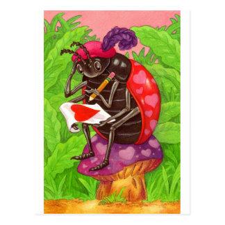 Nota del amor de la mariquita de la tarjeta del tarjetas postales