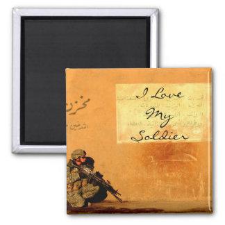 Nota del amor sobre el soldado de los militares de imán para frigorífico