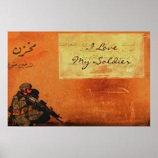 Nota del amor sobre los militares personalizados póster