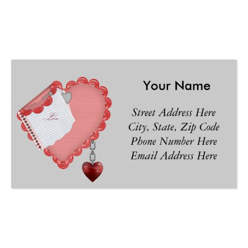 Nota del amor tarjetas de visita