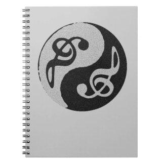 nota del clave de la música de yang del yin libreta espiral