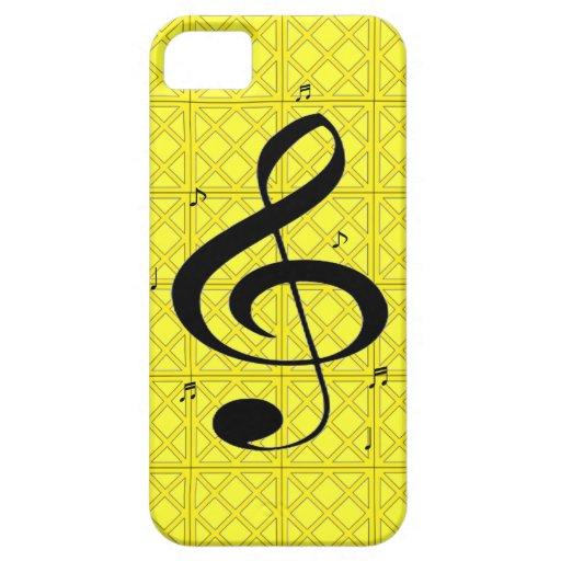 nota del G-clef con la caja abstracta amarilla del iPhone 5 Carcasas
