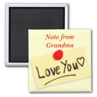 Nota del imán de la abuela