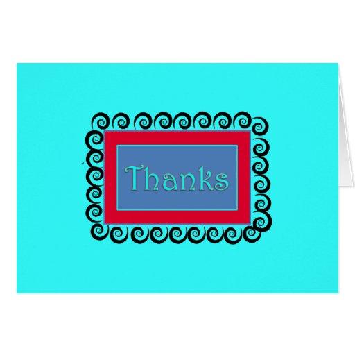 Nota del remolino de la turquesa de las gracias felicitacion