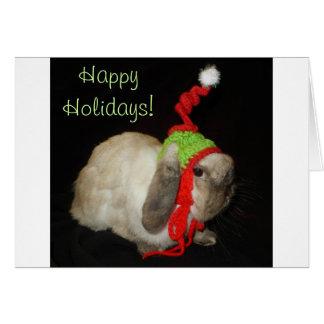 Nota en blanco del navidad del conejo de conejito felicitaciones