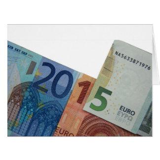 Nota feliz del euro 2015 tarjeta de felicitación grande