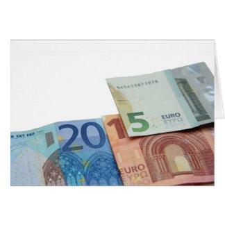 Nota feliz del euro 2015 tarjeta pequeña