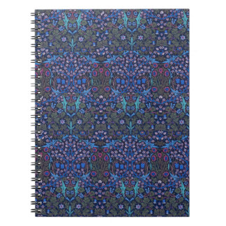 Nota floral azul de Nouveau del arte de William Mo Libretas