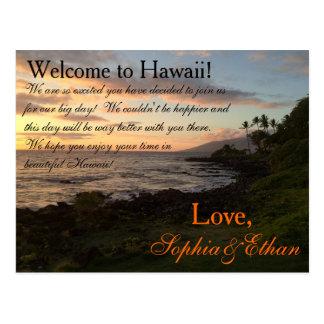 Nota hawaiana del bolso de la recepción del boda postal
