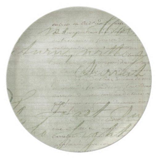 Nota manuscrita del viejo vintage plato