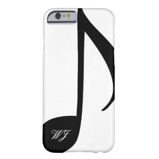 Nota musical blanco y negro del monograma de funda barely there iPhone 6