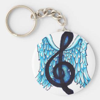 Nota musical coa alas llavero redondo tipo pin