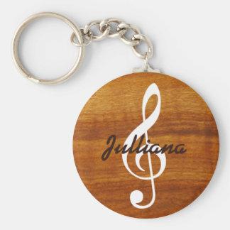 nota musical de encargo sobre la madera llavero redondo tipo pin