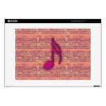 Nota musical de moda femenina sobre partitura calcomanía para 38,1cm portátil