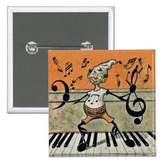 Nota musical del duende sobre el botón del piano pin cuadrado