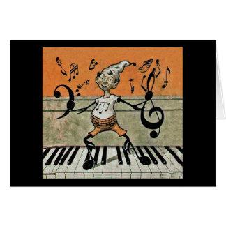 Nota musical del duende sobre tarjeta de nota del