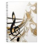 Nota musical elegante libro de apuntes con espiral