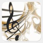 Nota musical elegante pegatinas cuadradases personalizadas