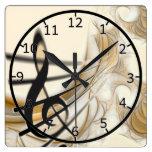 Nota musical elegante reloj cuadrado