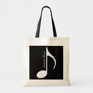 nota musical gráfica personalizada bolsa tela barata