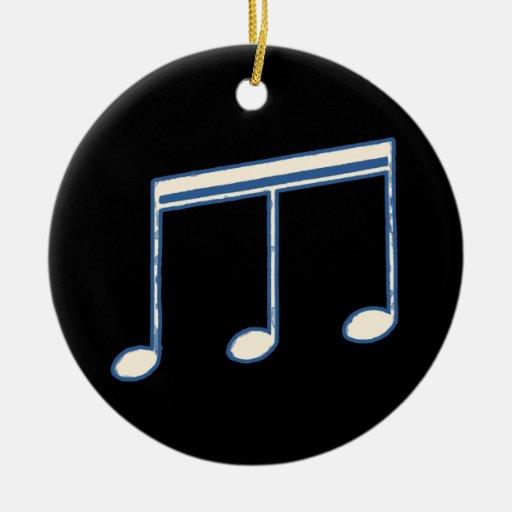 nota musical simple blanca adorno navideño redondo de cerámica