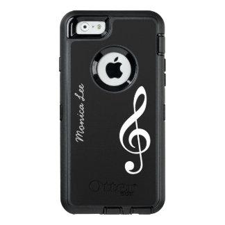 nota negra de la música personalizada funda OtterBox defender para iPhone 6