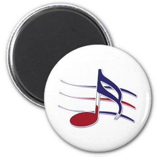 Nota patriótica de la música imán redondo 5 cm